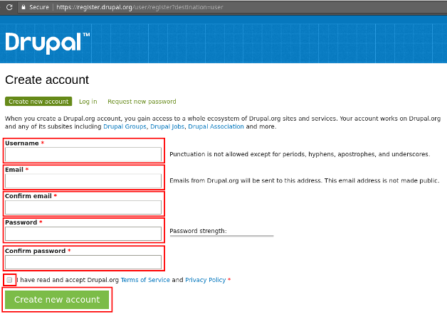 Drupal Account Creation Page