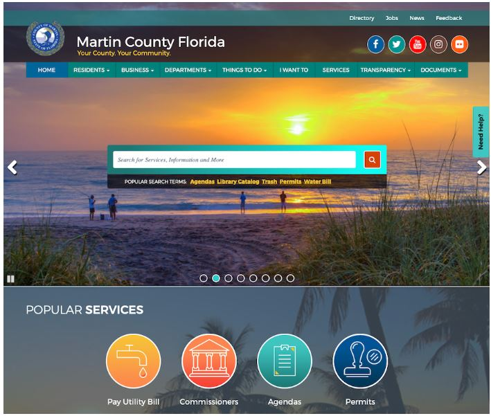 The Martin County Florida website homepage