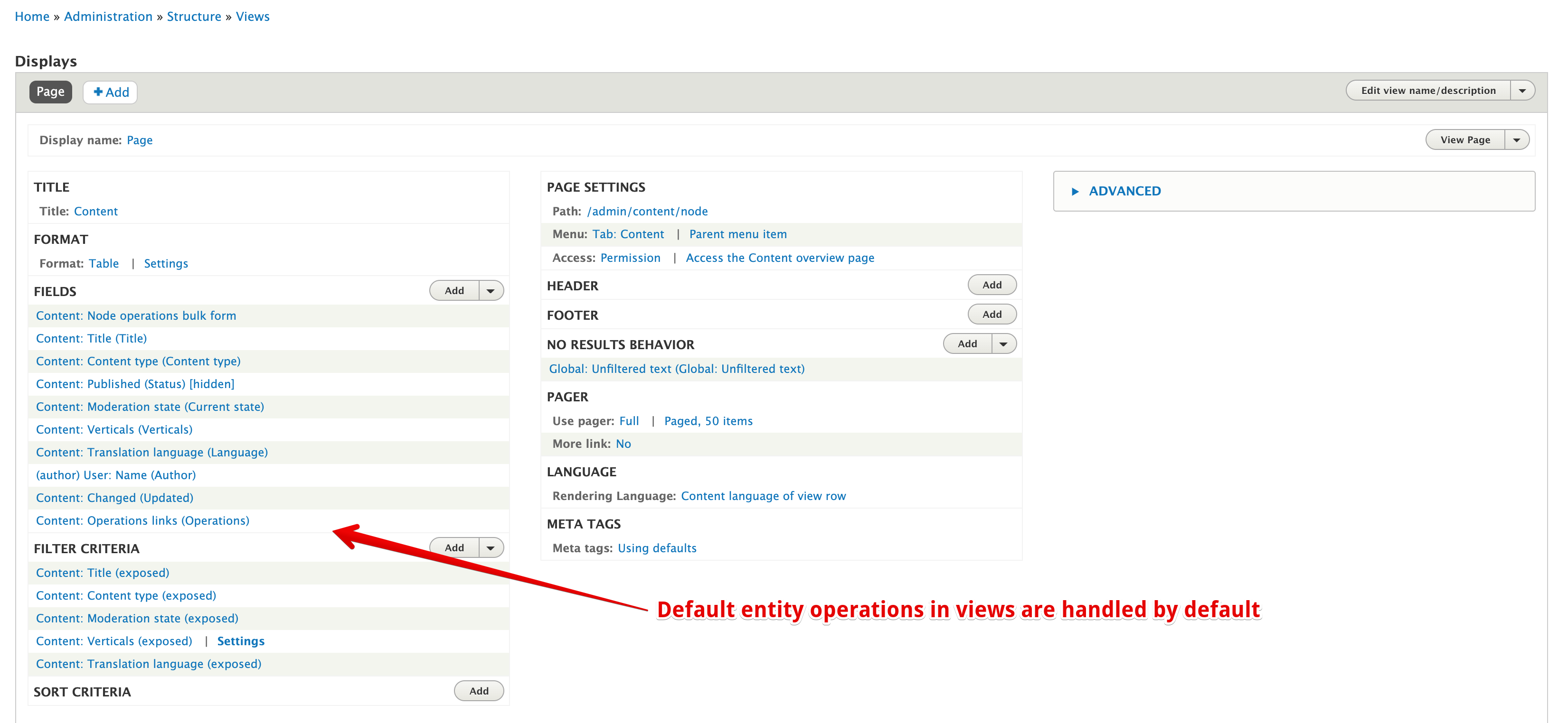 default entity operations in views