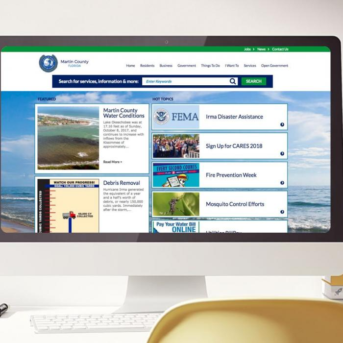 ADA Web Accessibility case study Martin County Florida homepage image